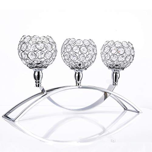 Plxixi Crystal Candle Holders Silver with 3-Candle for Dinning Room Table,Coffee Table,Wedding,Birthday Gifts (Silver, ZT237)