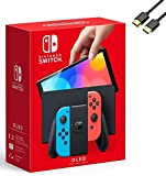 Nintendo Switch - OLED Model Console | 64 GB Internal Storage | Enhanced Audio | Touchscreen Display, Built-in Speaker, Full Color Display | U Deal HDMI with Neon Red & Blue Joy-Con