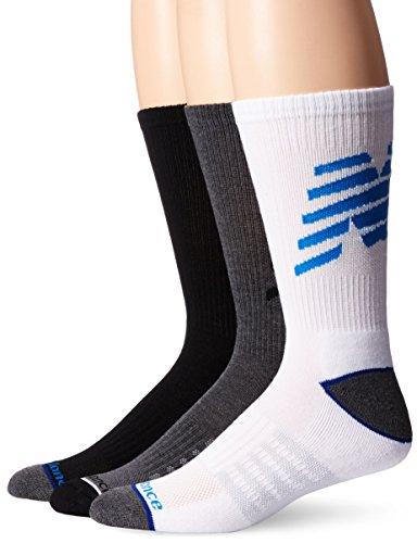 New Balance Performance Crew Socks -3 Pairs, Black, White, Grey, Blue, Large