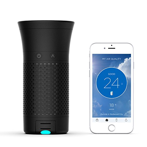Wynd Plus - Smart Portable Air Purifier with Detachable Air Quality Tracker (Black Matte)