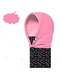 BESIXER Balaclava Hat for Kids Face Mask Thermal Fleece Neck Warmer Winter Ski Mask Full Face Cover Cap for Outdoors Skiing Cycling, Pink