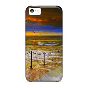 Durable Defender Case For Iphone 5c Tpu Cover(chain Fence At Beach)