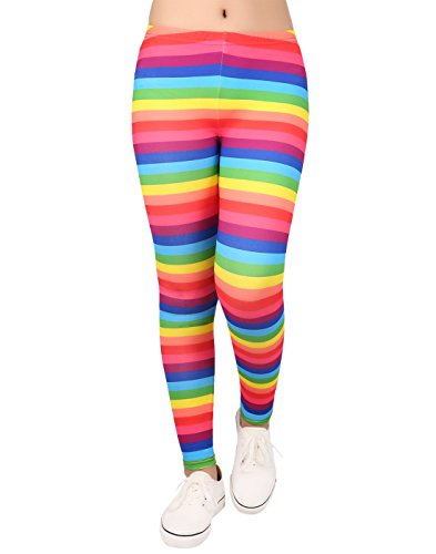 t Leggings with Print Designs Full Ankle Length Comfy Pants (Rainbow Stripes, Small) (Flower Stripe Tights)