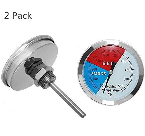 DOZYANT 3 inch Temperature Gauge for Barbecue Charcoal Grill Smoker Pit BBQ Thermometer Fahrenheit and Heat Indicator for Meat Cooking Port Lamb Beef, Stainless Steel Temp Gauge,2 Pack