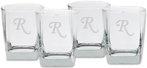 UPC 024766051182, Culver Deep Etched Double Old Fashioned Glass, 13-Ounce, Monogrammed Letter-R, Set of 4