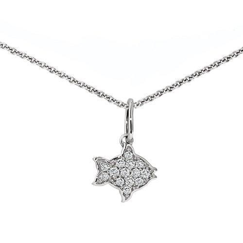 (Ze Sterling Silver Diamond Clown Fish Necklace )