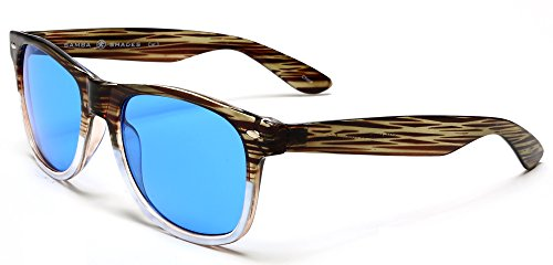 - Samba Shades New Vintage Horned Rim Sunglasses with Green Bamboo and White Frame, Blue UV400 Lens