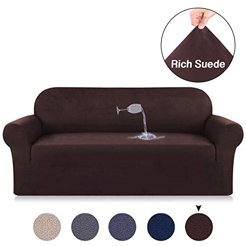 Turquoize Brown Sofa Slipcover Suede Couch Velvet Plush Slipcover Water Repellent Suede Sofa Cover Machine Washable Plush Slip Resistant Sofa Covers, 3 Seater Sofa Size (Sofa, Brown) (Sofa Fit Sure Suede Soft)