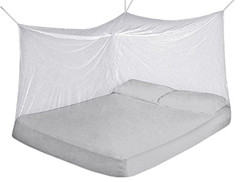 Fine Mesh 100% Polyester Mosquito Net for Beds. Chemicals Free Protection. Size (Queen, Color White) (100% Polyester Net)