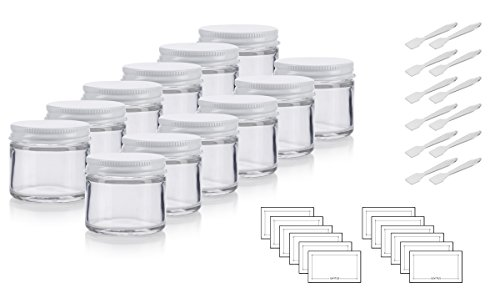 Clear Thick Glass Straight Sided Jar with White Metal Airtight Lid - 2 oz / 60 ml (12 pack) + Spatulas and Labels