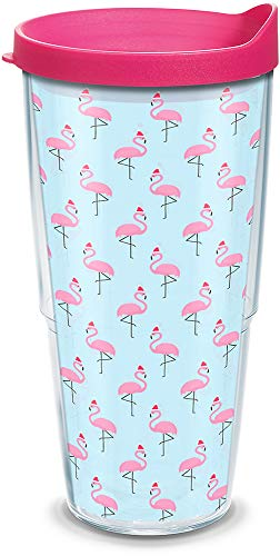 Tervis 1312686 Santa Hat Flamingo Insulated Tumbler with Lid, 24 oz, Clear