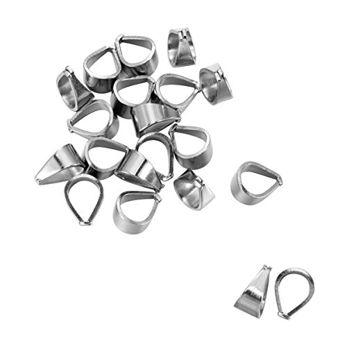Housweety 20PCs Silver Tone Stainless Steel Pinch Clips Bail Connectors Findings 12mmx10mm
