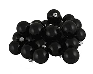 """Seasons Designs Club Shiny Black Glass Ball Christmas Ornaments, 36 Pack, 2.75"""""""