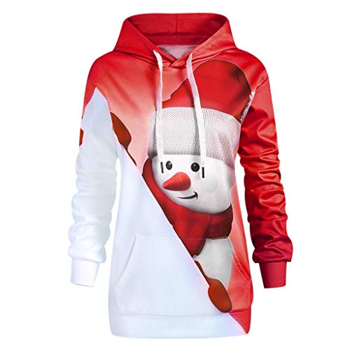 Womens Hoodie Sweatshirt with Pocket Cartoon Print Pullover Blouse for Christmas (Coat Fur Rabbit Genuine 3/4)