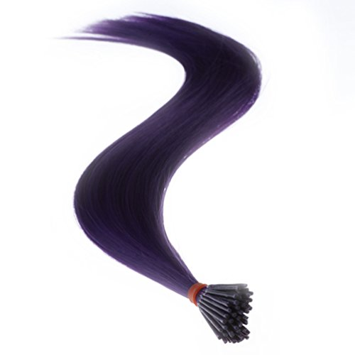 "Stick/i Tip (Savena Straight I Tip Hair Extensions Colorful Synthetic 0.5g/Piece 50pcs/Pack Stick Tip Hair 18"" (Dark Purple))"