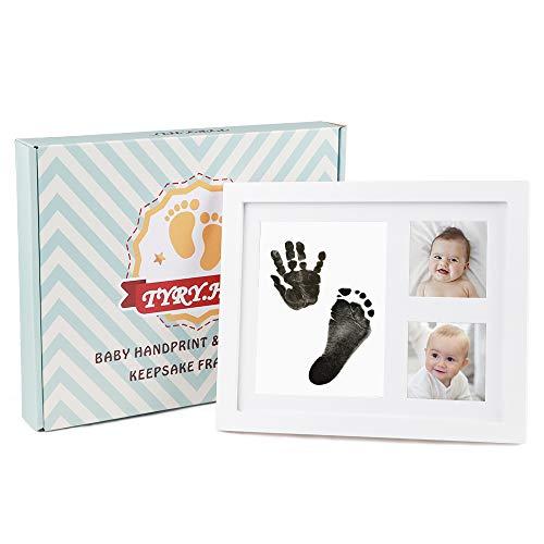 TYRY.HU Baby Handprint Kit Footprint Photo Frame Babyprints Picutre Frames Keepsake for Newborn Boys and Girls Personalised Shower Gift Set Room Wall Nursery Decorations (Black)