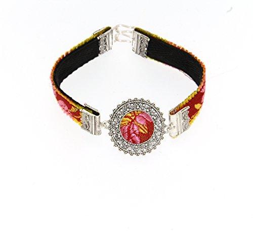 ORFÈVRES Sassari-RR-Bracelet Femme-Argent et Tissu Bruni Broccato. Telarzu Ligne