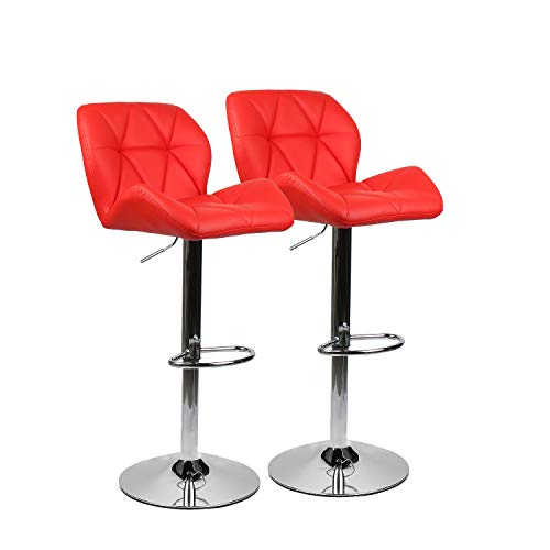 PULUOMIS Set of 2, Bar Stools Modern Hydraulic Adjustable Swivel Barstools, Leather Padded with Back, Dinning Chair with Chrome Base, Red... (Bar Steel Stainless Stools Table And)