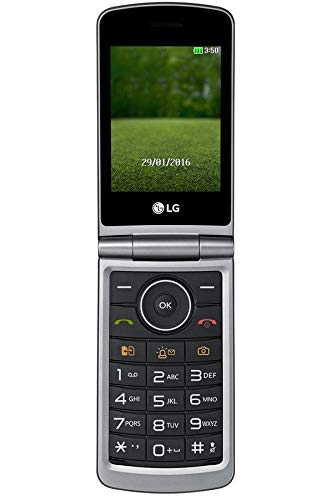 "LG Flip Phone Senior Unlocked GSM Unlocked International Model, No Warranty- 2G G360 Dual Sim Duos Mp3 Camera BIG BUTTONS Facebook Twitter LCD 3.0"" Bluetooth Factory Desbloqueados (Titan)"