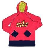NIKE Womens Therma Fit Script Pullover Hoodie Sweatshirt Pink Medium