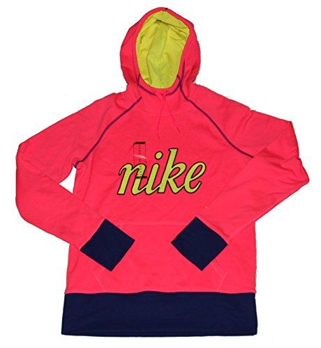 NIKE Womens Therma Fit Script Pullover Hoodie Sweatshirt Pink Medium by NIKE