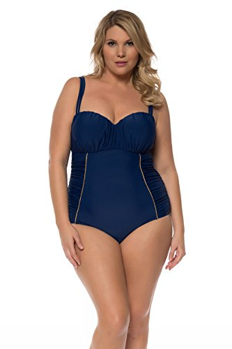 6c813a6e02 Jessica Simpson Women's Plus Size Sweet Sailor Shirred U-Wire Double Strap  Maillot One Piece Swimsuit-3X-JSP16_WildMarin