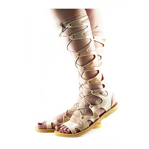 Womens Fashion Gladiators Long , Elastic Laces Summer Sandals Nude