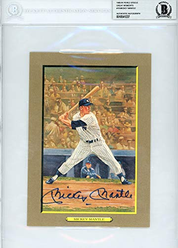 Mickey Mantle Autographed Signed Auto Perez Steele Great Moments Postcard #19 New York Yankees Beckett Certified