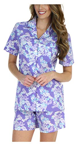 Sleepyheads Women's Sleepwear Cotton Short Sleeve Button-Up Top and Shorts Pajama Set -