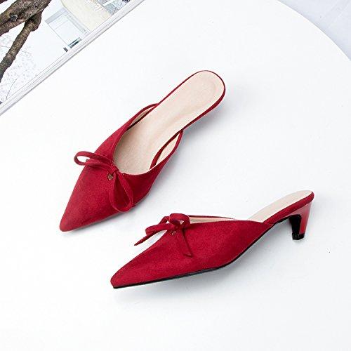 Con Verano El Pequeño GAOLIM De Pajarita En Baja El Con Zapatos Bellas Y Sandalias De rojo Cabezal Punta Mujer Zapatillas El Cool Mujeres wUO7WPXU