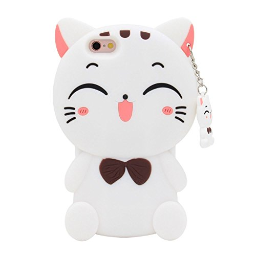 Cute 3D Cartoon Lovely Animal Design Soft Silicone Back Case Cover For Iphone 5 5G 5S Se  Fortune Cat White