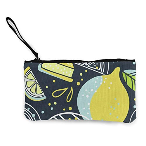 Canvas Coin Purse Doodle Lemons Leaves Customs Zipper Pouch Wallet For Cash Bank Car (Best Baigio Camera Backpacks)