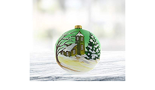Amazon Com Gifts Plaza D Handpainted Landscape Church Round Holiday 6 Ornament Handmade Mouthblown Glass Christmas Tree Decoration Home Kitchen