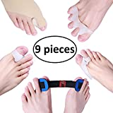 Bunion Corrector & Bunion Relief Sleeves Kit, Protector agains't pain in Hallux Valgus - Include 8 Toe Separators for Big Toe Joint, Tailors Bunion, Hammer Toe and 1 Spacers Straighteners for Splint A