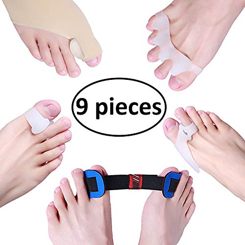 Bunion Corrector & Bunion Relief Sleeves Kit, Protector agains't pain in Hallux Valgus - Include 8 Toe Separators for Big Toe Joint, Tailors Bunion, Hammer Toe and 1 Spacers Straighteners for Splint A by LANGFON