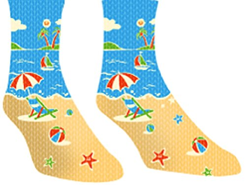 Men's Novelty Sport Socks - Perfect Gift Groom and Athletes - Beach, Sun, Water Fun Stockings
