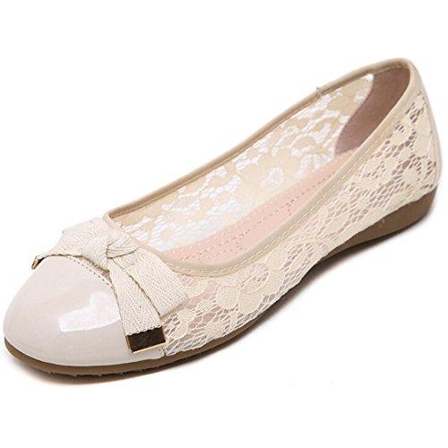 Angelliu Frauen atmungsaktiv hohle Spitze flache Schuhe Pantoffeln Frühling Sommer und Herbst Aprikose