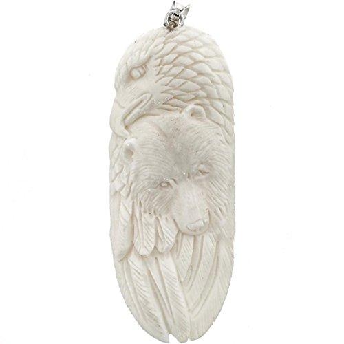 Totem Eagle Bear Buffalo Bone Hand Carving 925 Sterling Silver Pendant, 3 1/4