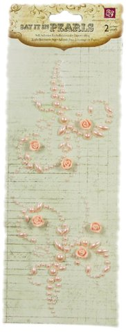 Prima 535674 6-1/2-Inch Say It in Pearls Self Adhesive Jewel Art Mini Flourish with Roses, Light Pink