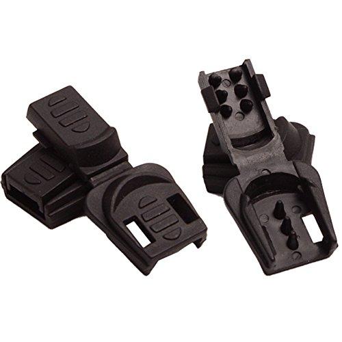 Aligle 100pcs Zip Clip Buckle Zipper Pulls Cord Rope Ends Lock Black Plastic Zipcords Stopper ()