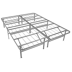 Mantua Premium Platform Bed Base in Silver, Fits Twin Mattress, Replaces Box Spring and Bed Frame, Room for Storage…