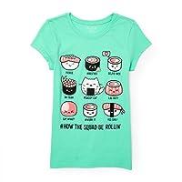 The Children's Place Little Girls' Graphic Short Sleeve Tee Shirt, erinite Green 92239, S (5/6)