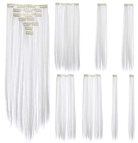 SWACC 7 Pcs Full Head Party Highlights Clip on in Hair Extensions Colored Hair Streak Synthetic Hairpieces (22-Inch Straight, White) -