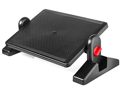 Under Desk Foot Rest, Black Footstool & Office Ergonomic Footrest, Adjustable Angle & 2 Different Height Positions 16.3'' X 11.8'' - Great for Home & Work - 5 Pack by Halter (Image #1)