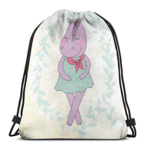 2019 Funny Printed Drawstring Backpacks Bags,Hippie Animal Hippopotamus Girl With Dotted Dress On Grungy Flower Wreath Background,Adjustable String Closure]()