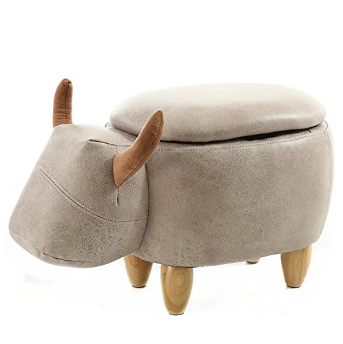 Wood Support Upholstered Footstool for Kids Ottoman Pouffe Footrest Stool 3D Cute Animal Shape (Gray Buffalo (storage)) by Shock333