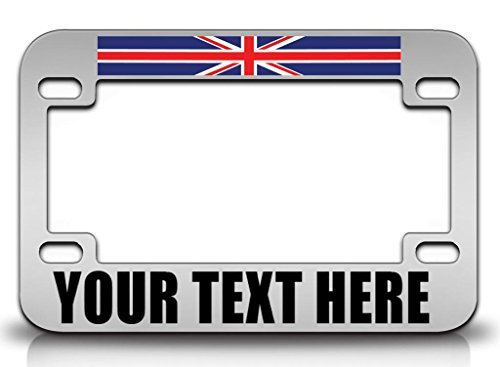 (BRITISH Country Flag CUSTOM Personalized MOTORCYCLE License Plate Frame Ch)