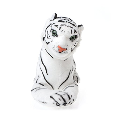 Jesse Plush Toy, 13.78 x 5.12 x 8.66 inch, Cute Soft Tiger Stuffed Animal Doll Baby Hand Toy Gift for Kids Girls Boys, White