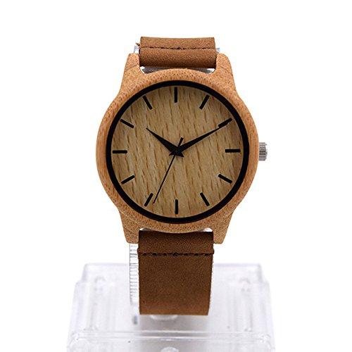 Reloj de madera para hombres o mujeres, con el movimiento del cuarzo de la correa de cuero, reloj elegate