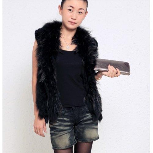Gilet femme fourrure lapin tricoté - Nero, taille XL
